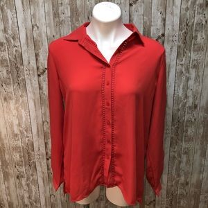 Loft coral button down collared long sleeve top M
